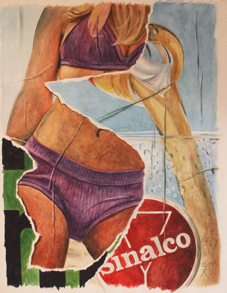 Fritz Köthe, Sinalco (France Gall), 1968, Aquarell, 45x35 cm, Preis auf Anfrage