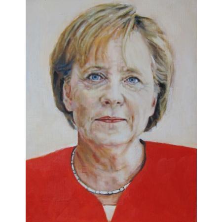 Peter Wilde, Merkel 1, 2012, Öl/Holz, 32x25 cm