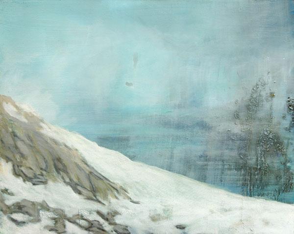 """Jan Holthoff, """"White Haze"""", 2011, Pigment, Acryl/Leinwand, 80 x 100 cm"""