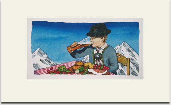 """Christopher Winter, """"Bavarian Breakfast"""", farbige Aquatintaradierung, 2008, Auflage 30 Exemplare, signiert, nummeriert und datiert, 33 cm x 62 cm auf 55 cm x 90 cm € 1.100,-"""