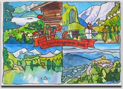 """Christopher Winter, """"Im Berchtesgadener Land"""", farbiges Aquarell, 2004, ca. 11 cm x 15 cm auf ca. 27,5 cm x 37 cm"""