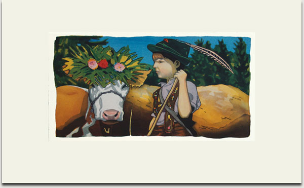 """Christopher Winter, """"Boyherd"""", farbige Aquatintaradierung, 2008, Auflage 30 Exemplare, signiert, nummeriert und datiert, 33 cm x 62 cm auf 55 cm x 90 cm € 1.100,-"""
