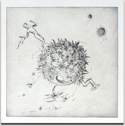 """Christopher Winter, """"Dark Storm"""", s/w Radierung, 2010, Auflage 25 Exemplare, nummeriert, datiert und signiert, 50 cm x 50 cm auf 76 cm x 76 cm € 580,-"""