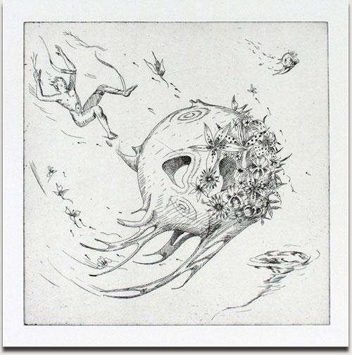 """Christopher Winter, """"Hurricane Planet"""", s/w Radierung, 2010, Auflage 25 Exemplare, nummeriert, datiert und signiert, 33 cm x 33 cm auf 53 cm x 53 cm € 380,-"""