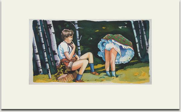 """Christopher Winter, """"Picking Flowers"""", farbige Aquatintaradierung, 2008, Auflage 30 Exemplare, signiert, nummeriert und datiert, 33 cm x 62 cm auf 55 cm x 90 cm € 1.100,-"""