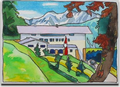 """Christopher Winter, """"Pink Hitler's Haus"""", farbiges Aquarell, 2001, ca. 11 cm x 15 cm auf ca. 27,5 cm x 37 cm"""