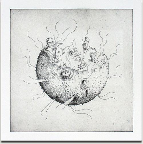 """Christopher Winter, """"Smoking Planet"""", s/w Radierung, 2010, Auflage 25 Exemplare, nummeriert, datiert und signiert, 33 cm x 33 cm auf 53 cm x 53 cm € 380,-"""