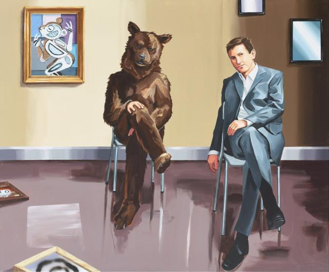 Christopher Winter, Time Dimensionalety (and the 1911 Cubist Monkey), 2014, Acryl/Leinwand, 150 x 180 cm