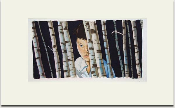 """Christopher Winter, """"Voyeur"""", farbige Aquatintaradierung, 2008, Auflage 30 Exemplare, signiert, nummeriert und datiert, 33 cm x 62 cm auf 55 cm x 90 cm € 1.100,-"""