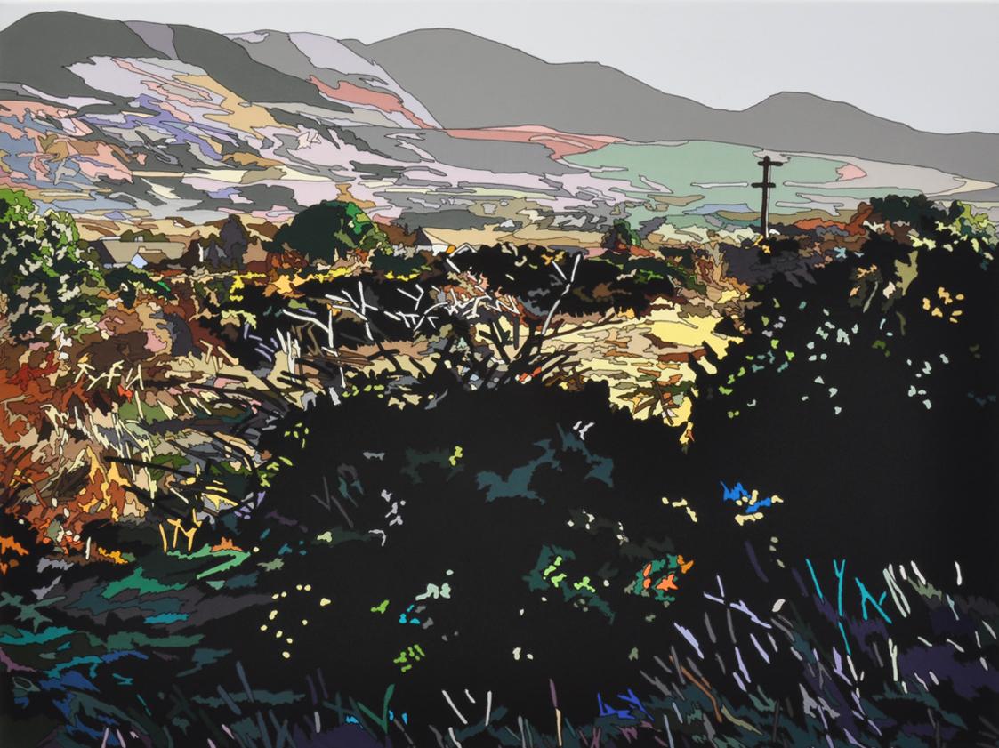 Rowena Dring, A litte place by Loch Gill, 2011, vernähte Baumwolle auf Leinwand, 110 x 150 cm