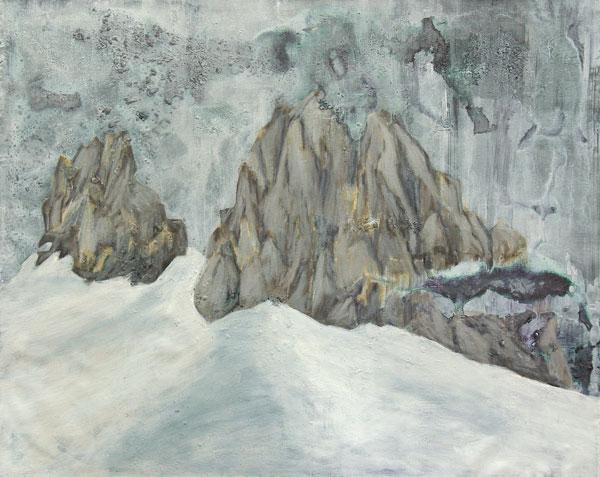 "Jan Holthoff, ""Cadaverous Rocks"", 2011, acrylic, pigment on canvas, 80 x 100 cm"