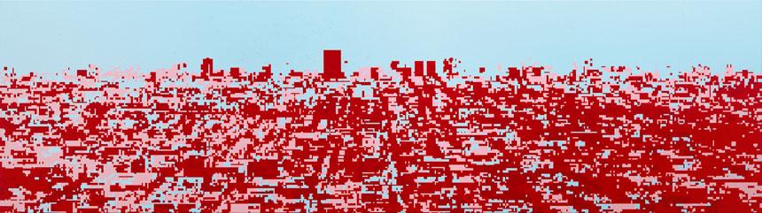 """Birgit Jensen, """"KT IV"""", acrylic on canvas, 2003, 70 cm x 250 cm"""