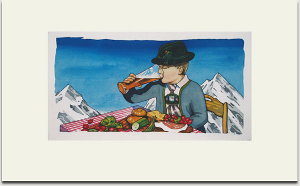 "Christopher Winter, ""Bavarian Breakfast"", etching and aquatint, 2008, Auflage 30 Exemplare, signiert, nummeriert und datiert, 33 cm x 62 cm auf 55 cm x 90 cm € 1.100,-"