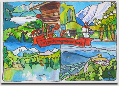 "Christopher Winter, ""Im Berchtesgadener Land"", watercolor, 2004, ca. 11 cm x 15 cm auf ca. 27,5 cm x 37 cm"