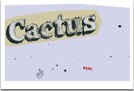 """Birgit Jensen, """"Cactus"""", silkscreen on paper, 2007, Auflage 25 Exemplare, signiert, nummeriert und datiert, 47 cm x 73 cm auf 58 cm x 76,5 cm"""