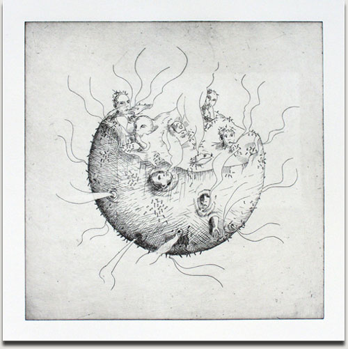 "Christopher Winter, ""Smoking Planet"", etching, 2010, Auflage 25 Exemplare, nummeriert, datiert und signiert, 33 cm x 33 cm auf 53 cm x 53 cm € 380,-"