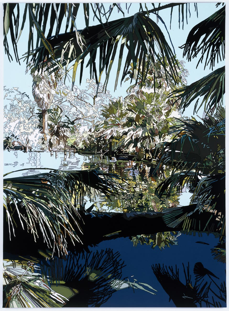 Rowena Dring, Oasis of Mara, 2008, stitched fabrics on canvas, 225 x 2165 cm